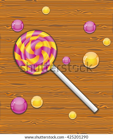 Vector illustration with candy.  - stock vector