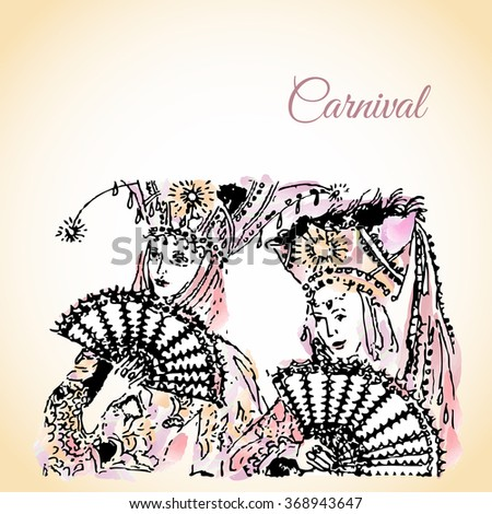 Vector illustration with Carnival Hairdressing