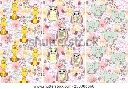 Vector illustration with cartoon animals with flowers. Seamless pattern - stock vector