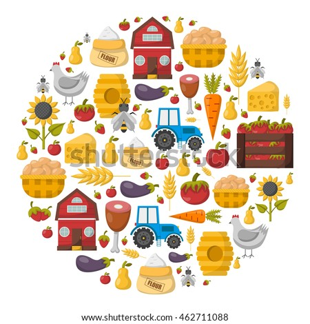Vector illustration with cartoon farm market background. Organic farm concept. Harvesting, agriculture objects. Cartoon bio eco farm products: vegetables, meat, milk products, honey, fruits