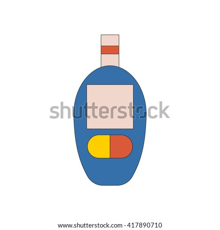 Vector illustration with cartoon flat glucometer. Diabetes medical test. Glucose level in blood. Vector diabetes icon. Measurement, control, surveillance for sugar in blood. Diabetic glucometer - stock vector