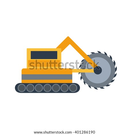 Vector illustration with cartoon flat mining drill machine. Mining equipment. Isolated flat drilling industrial technology. Vector background for industrial mining drilling technology. Heavy equipment