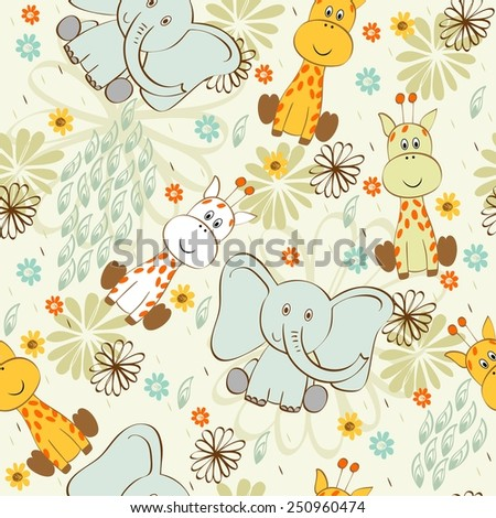 Vector illustration with cartoon giraffe and elephant. Seamless pattern - stock vector