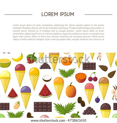Vector illustration with cartoon ice cream balls in cones. Cartoon ice cream flavours. Summer sweet dessert. Big collection ice cream flavours. Vector cartoon background. Fruits sweet balls