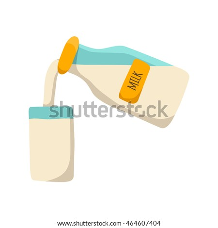 Vector illustration with cartoon milk bottle and glass with milk. Vector dairy products icon. Fresh farm milk background. Natural organic milk bottle. Vector isolated icon on white background