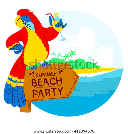 Vector illustration with cartoon red parrot with cocktail on wooden designator to the tropical beach party - stock vector