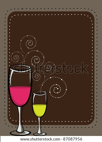 vector illustration with champagne glass - stock vector