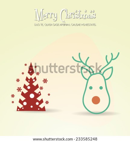 Vector illustration with christmas and christmas tree