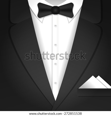 Vector illustration with classic formal male tuxedo and bow tie