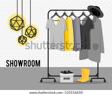 Vector Illustration With Coat Rack Showroom Closet Clothes Bags Boxes And