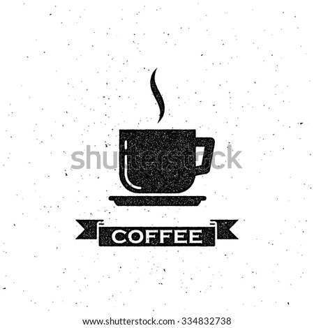 vector illustration with coffee cup and vintage ribbon. letterpress label design - stock vector
