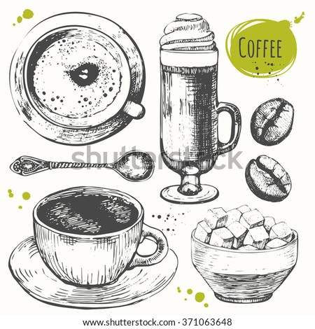 Vector illustration with coffee drinks. Decorative elements for your design. Set of hand drawncup of coffee, latte, coffee beans and sugar bowl. Black and white sketch of coffe. - stock vector