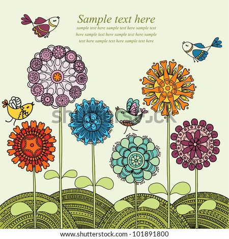 Vector illustration with colorful flowers and flying birds - stock vector