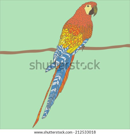 Vector illustration with colorful parrot - stock vector