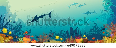 Vector illustration with coral reef, school of fish and silhouette of marlin fish on a blue sea background. Underwater marine life. Panoramic underwater seascape.