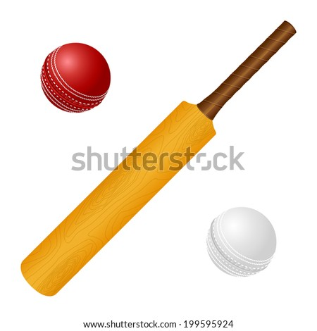 Vector illustration with cricket bat and red, white ball - stock vector