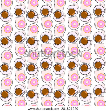 Vector illustration with cup of coffee, sweet donut and checkbox  on the table. Top view.