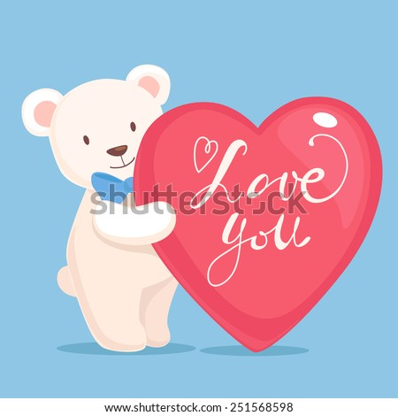 Vector illustration with cute brown smiling teddy bear with big love heart shape in hands isolated on white background - stock vector