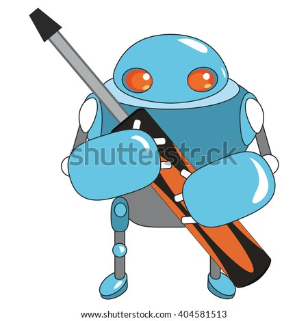 Vector illustration with cute cartoon blue robot. Funny and cute  cartoon character. Cute robot with screw key. Little robot. Vector illustration with blue robot on white background.