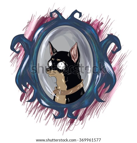 Vector illustration with cute toy terrier. Little scared dog. Big mirror. Little dog with very big eyes. Scared toy terrier illustration on white background.