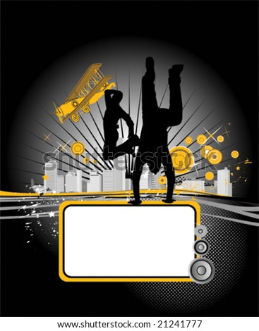 Vector illustration with dancing youth men. Music city - stock vector
