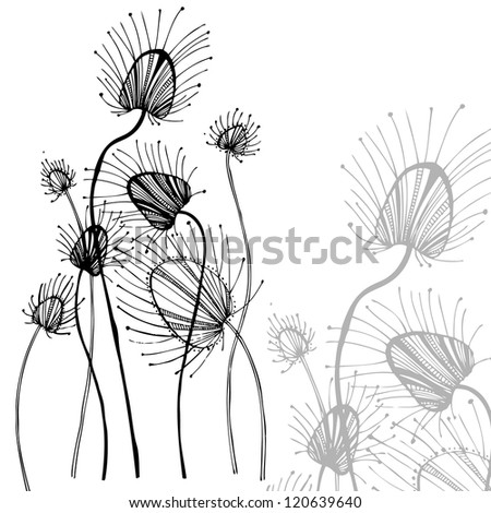 Vector illustration with decorative flower