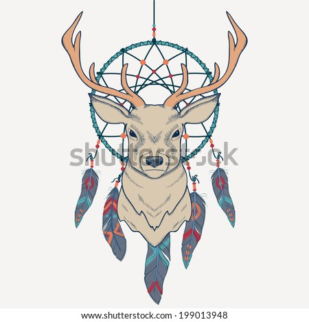 Vector illustration with deer and dream catcher - stock vector