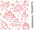 Vector illustration with desserts and cakes - stock vector