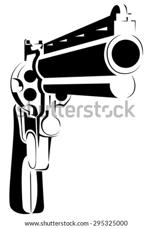 Vector illustration with directional gun in perspective - stock vector