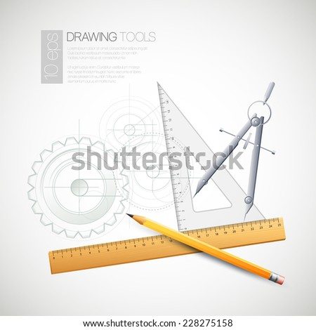 Vector illustration with drawing and drawing tools - stock vector