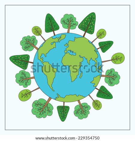 Vector illustration with earth and trees