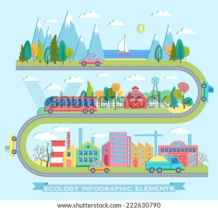 Vector illustration with ecology info graphic elements in flat style - stock vector