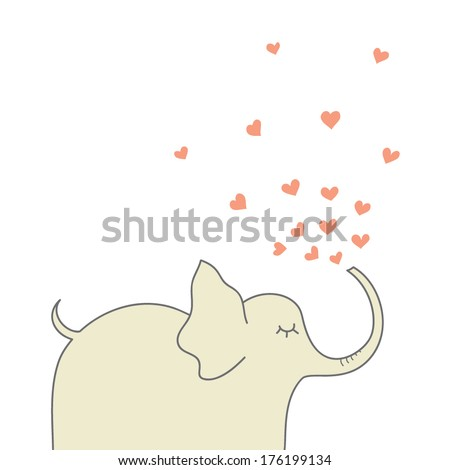 Vector illustration with elephant and hearts - stock vector