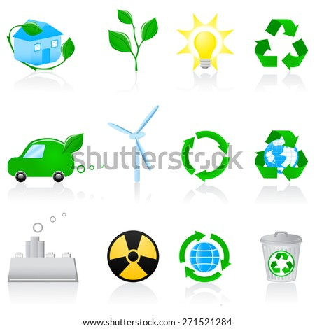 Vector illustration with environmental icons - stock vector