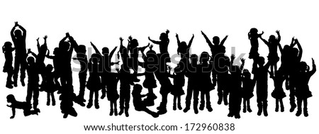 vector illustration with family silhouettes on a white background. - stock vector