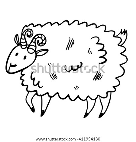 Vector illustration with farm animal. Doodle cute buck. Cartoon sheep. Handy drawn domestic animal. - stock vector