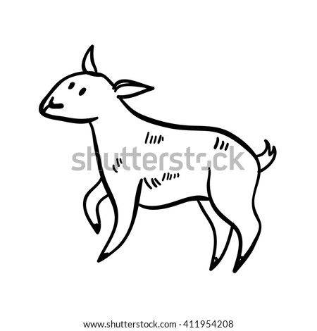 Vector illustration with farm animal. Doodle cute little sheep. Cartoon little sheep. Handy drawn little domestic animal. - stock vector
