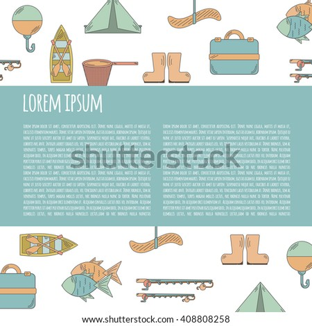 Vector illustration with fishing infographics. Line fishing equipment. Vector background for fishing infographics with text space. Fishing card or poster. Outdoor hobby fishing infographics - stock vector