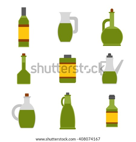 Vector illustration with flat cartoon olive oil bottles. Italy, Greece, Mediterranean cuisine. Extra virgin olive oil. Vector flat icons. Organic natural healthy oil. Olive bottle icon for food design