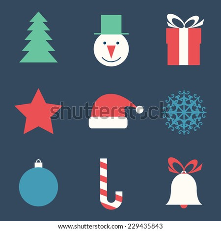 Vector illustration with flat Christmas icons