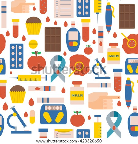 Vector illustration with flat diabetes background: glucometer, hand with blood, medicament, sweets, diabetes emblem. Self-control sugar level measurement. Vector glucose test. Health care equipment - stock vector