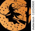 Vector illustration with full Moon and Halloween witch - stock photo