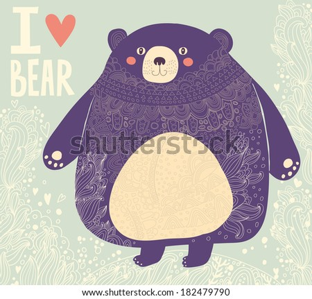 Vector illustration with funny bear  - stock vector