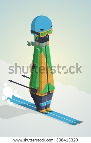 vector illustration with funny skier - stock vector