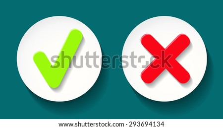 Vector illustration with green and red label checkmark