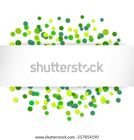 Vector illustration with green confetti celebration background - stock vector