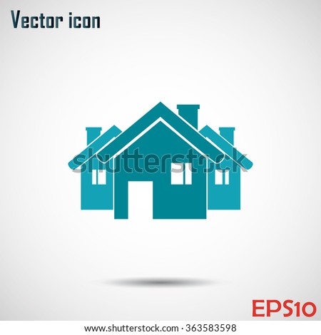 Vector illustration with group of cottages. - stock vector