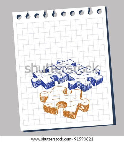 Vector illustration with hand drawn - stock vector
