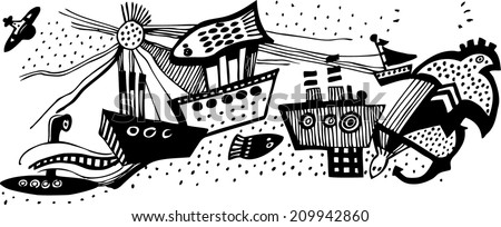 Vector illustration with hand drawn black and white ships. Sea fight - stock vector