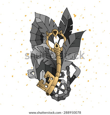 Vector illustration with hand drawn elements steam-punk and technological details. For printing, posters, web design. - stock vector